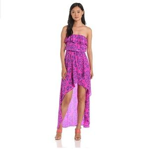 Aloha Alba Pink 100%silk high low strapless dress